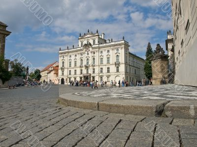 Paving stones of central place in old Prague city