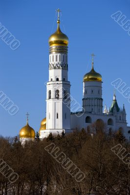 View on The Ivan the Great Bell Tower in Moscow Kremlin from Mos
