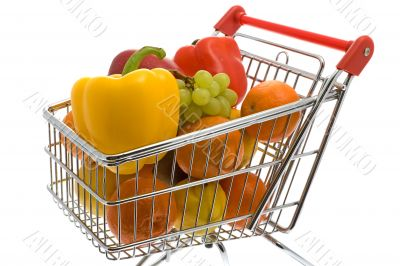 Shopping trolley with fruits and vegetables