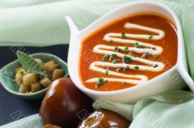 Bowl of Black Prince tomatoe soup