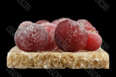 The frozen cranberry.
