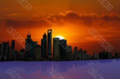 illustration Shanghai Skyline