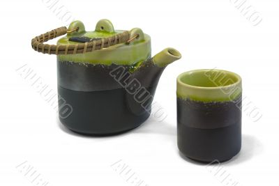 teapot and cup with clipping path