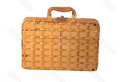 Woven hamper with handles with clipping path