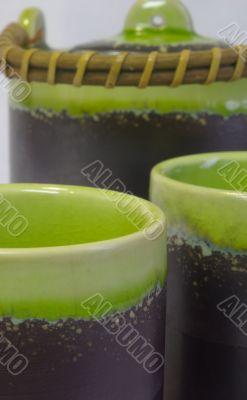 teapot and cups closeup