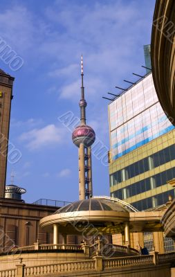 Shanghai architecture, pearl tower background