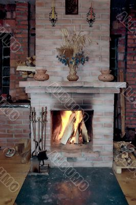 Fireplace in a village house