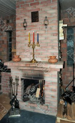 Fireplace in village build house