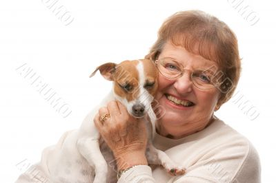 Happy Attractive Senior Woman with Puppy
