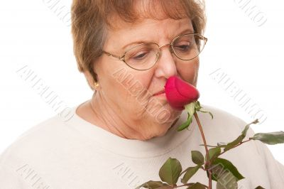 Attractive Senior Woman with Red Rose
