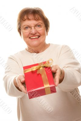 Attractive Senior Woman with Gift