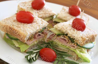 Tasty club sandwich on wholewheat bread
