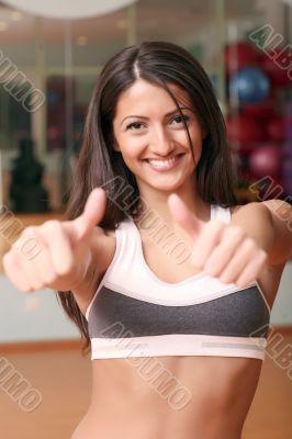 The beautiful girl in sports club