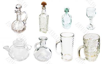 A transparent glass carafe