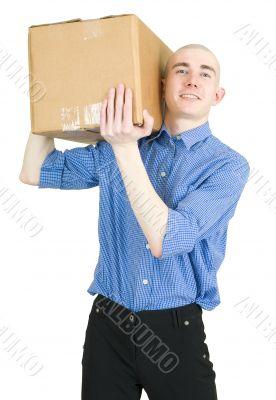 Man hold cardboard