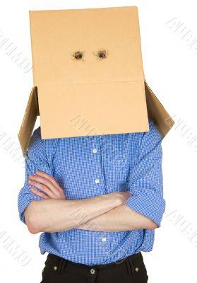 Man and cardboard