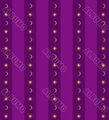 Violet background with sun and moon