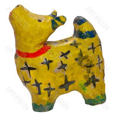 primitive ukrainian folk clay toy cow figurine