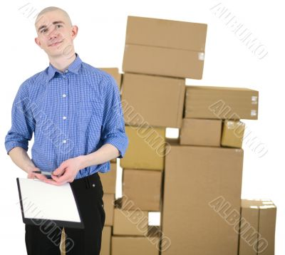 Courier and cardboard boxes