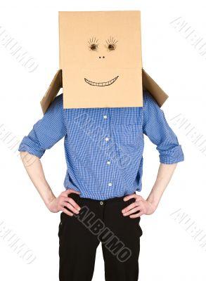 Man and cardboard box