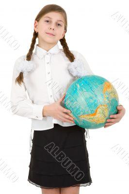Schoolgirl hold terrestrial globe