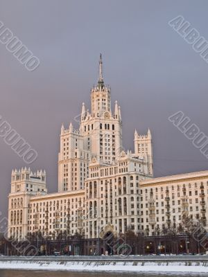 Moscow `Stalin` large apartment house on the river