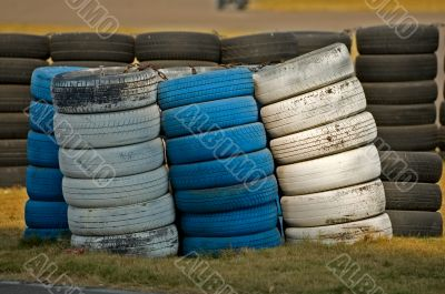 Roadside stacked tyres
