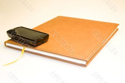 phone on notebook