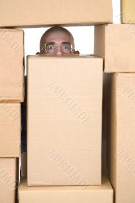 Man and cardboard boxes;stock-man;stockman
