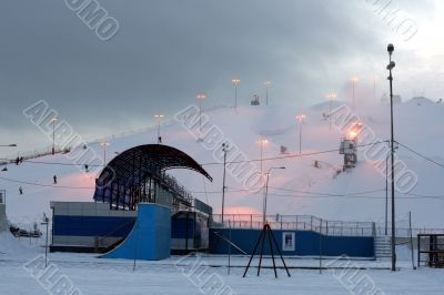 One downhill ski slope in Moscow
