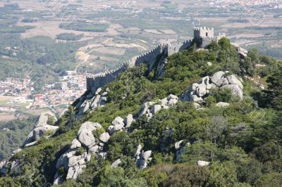 Panoramic view of Morrish Castle. Sintra Portugal
