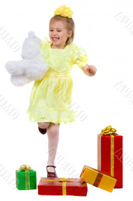 joyful girl with gifts
