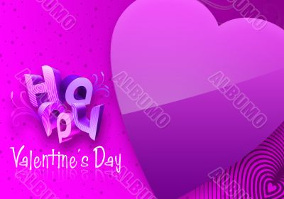 Violet Valentine`s Day Illustrated Heart
