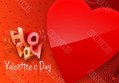Red Valentine`s Day Illustrated Heart