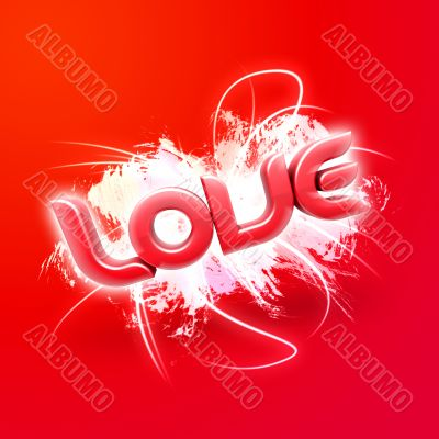 3D illustration of the word Love Red