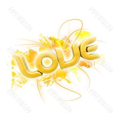 3D illustration of the word Love Yellow 2