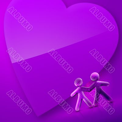 Valentines Day Illustrated Heart and Couple IV