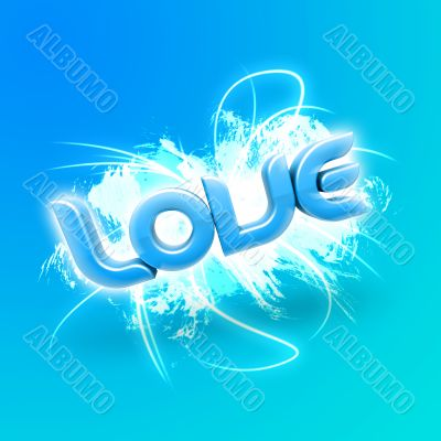 3D illustration of the word Love Blue