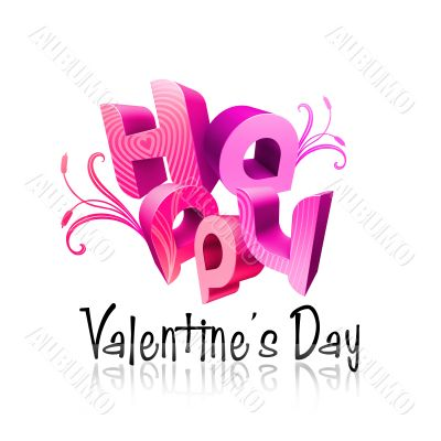 Happy Valentine`s Day Illustrated Types III Pink