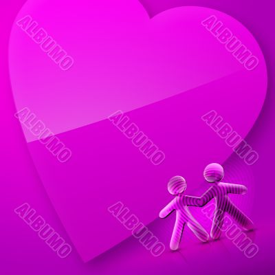 Valentines Day Illustrated Heart and Couple I