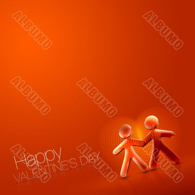 Happy Valentine`s Day Illustrated Couple IX