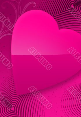Pink Valentine`s Day Illustrated Heart II