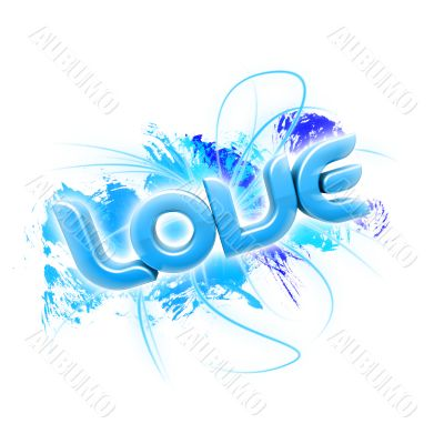3D illustration of the word Love Blue 2