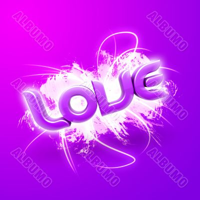 3D illustration of the word Love Pink