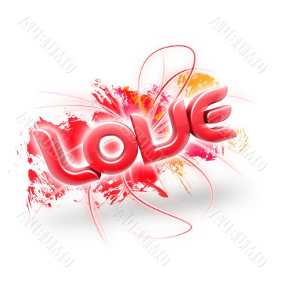 3D illustration of the word Love Red 2