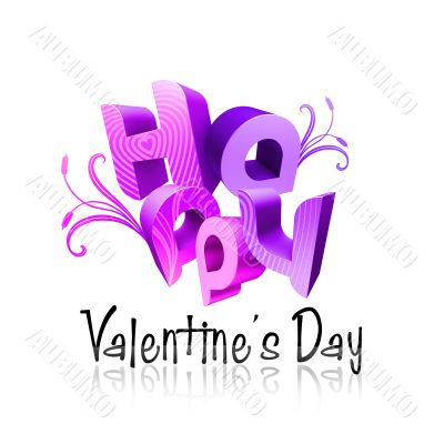 Happy Valentine`s Day Illustrated Types III Violet