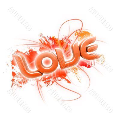 3D illustration of the word Love Orange 2
