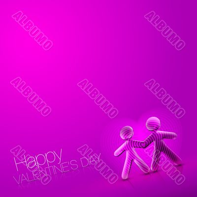 Happy Valentine`s Day Illustrated Couple VII