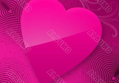 Pink Valentine`s Day Illustrated Heart