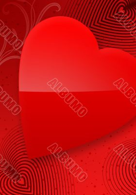 Red Valentine`s Day Illustrated Heart II